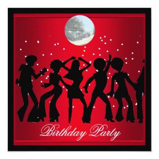 Disco 70's Birthday Party Red retro 2 Card