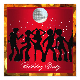 Disco 70's Birthday Party Red retro 3 Card