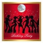 Disco 70's Birthday Party Red retro Custom Invitations
