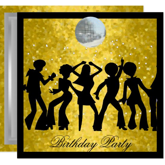 Disco 70's Birthday Party  Retro invitation