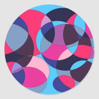 Disco abstract circle design. classic round sticker