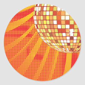 Disco Ball ~ 1980s 80s Disco Music Dance Classic Round Sticker