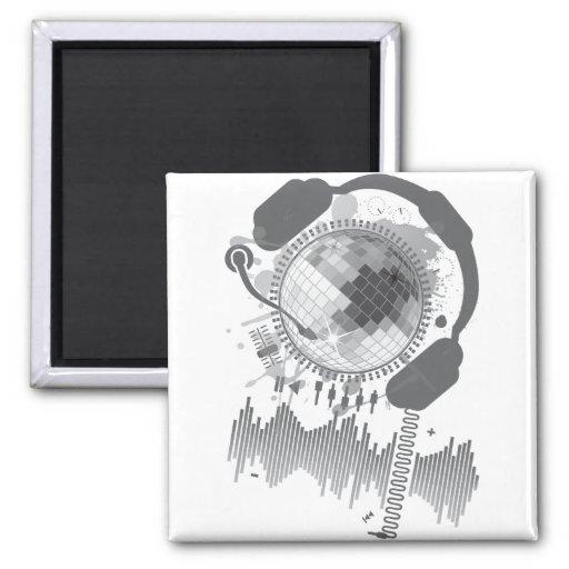 Disco_Ball 2 Inch Square Magnet
