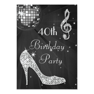 Disco Ball and Heels Black & Silver 40th Birthday 5x7 Paper Invitation Card