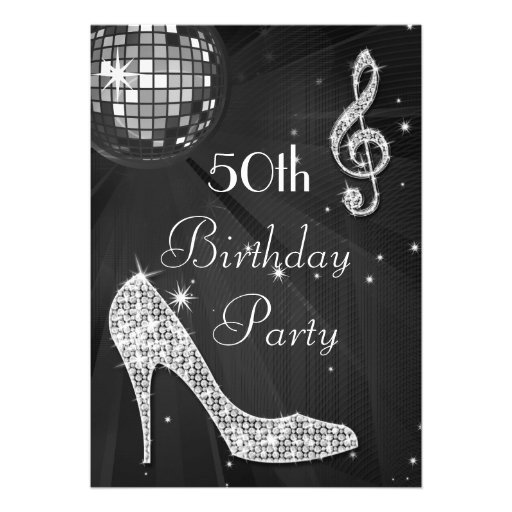 Disco Ball and Heels Black & Silver 50th Birthday Personalized Invite
