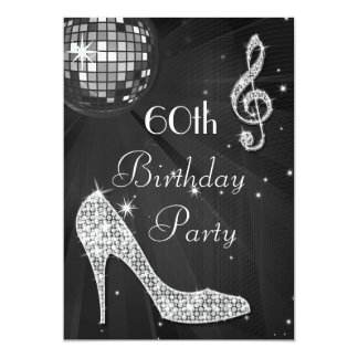 Disco Ball and Heels Black & Silver 60th Birthday 5x7 Paper Invitation Card