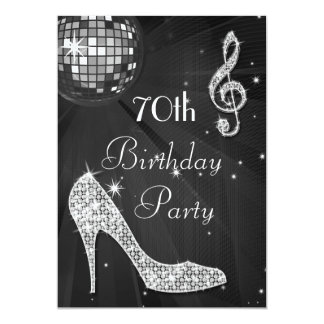 Disco Ball and Heels Black & Silver 70th Birthday 5x7 Paper Invitation Card