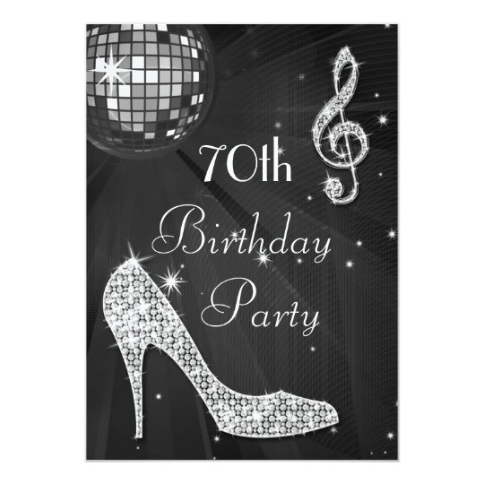 Disco Ball and Heels Black & Silver 70th Birthday Card