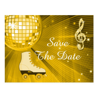 Disco Ball and Roller Skates 15th Save The Date Postcard