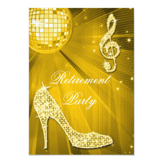 Disco Ball and Sparkle Heels Gold Retirement Card
