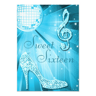Disco Ball and Sparkle Heels Sweet 16 Light Blue 5x7 Paper Invitation Card