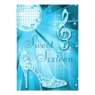 Disco Ball and Sparkle Heels Sweet 16 Light Blue Personalized Announcements