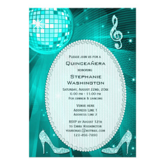 Disco Ball and Sparkle Heels Teal Quinceañera Personalized Announcement