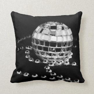 Disco ball b&w photo inverted grunge black pillow