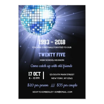 Wedding Themed Disco ball blue card