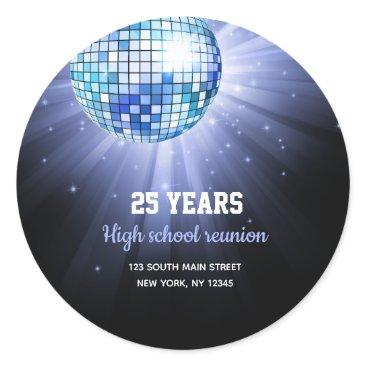 Wedding Themed Disco ball blue classic round sticker