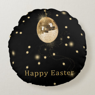 Disco Ball Easter Egg - Round Pillow