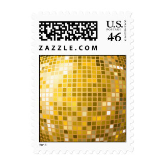 Disco Ball in gold Postage