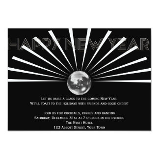 Disco Ball on Black and White New Years Eve Invite