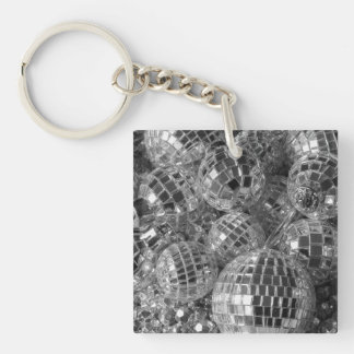 Disco Ball Ornaments Double-Sided Square Acrylic Keychain