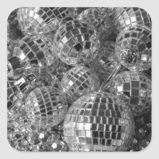 Disco Ball Ornaments Square Sticker