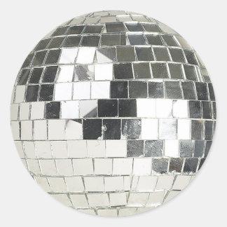 disco ball photo classic round sticker