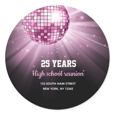 Wedding Themed Disco ball pink classic round sticker