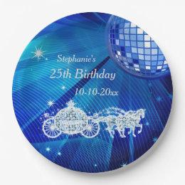 Disco Ball Princess Coach \u0026 Horses 25th Birthday Paper Plate & Royal Blue Color Plates | Zazzle