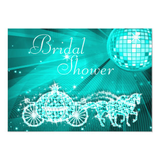 Disco Ball, Princess Coach & Horses Bridal Shower 5x7 Paper Invitation Card