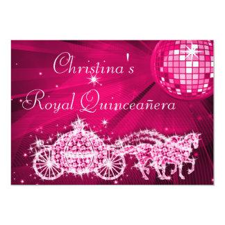 Disco Ball, Princess Coach & Horses Quinceañera 5x7 Paper Invitation Card