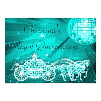 Disco Ball, Princess Coach & Horses Quinceañera Card
