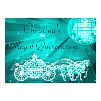 Disco Ball, Princess Coach & Horses Quinceañera Personalized Announcements