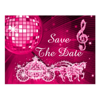 Disco Ball, Princess Coach & Horses Save The Date Postcard