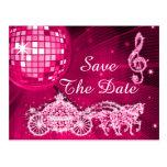 Disco Ball, Princess Coach & Horses Save The Date Postcard