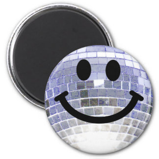 Disco Ball Smiley 2 Inch Round Magnet