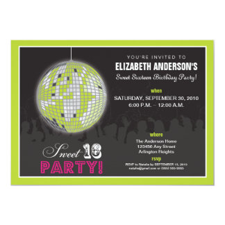 Disco Ball Sweet 16 Birthday Party Invite (lime)