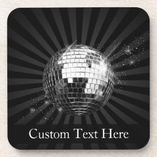 Disco Ball w/Black Background Drink Coaster