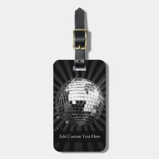 Disco Ball w Black Background Luggage Tag