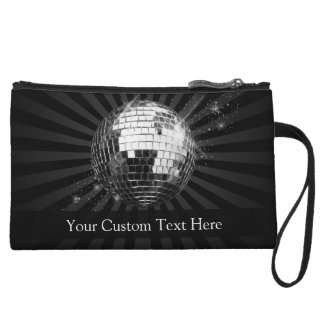 Disco Ball w/Black Background Wristlet Wallet