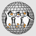 Disco Ball with Dancing Penguins Sticker (Round)