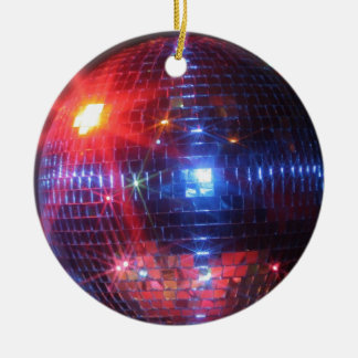 Disco ball with laser beams ceramic ornament