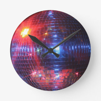 Disco ball with laser beams round clock