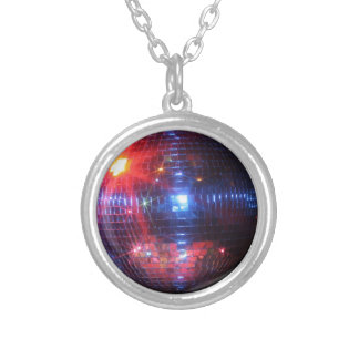 Disco ball with laser beams silver plated necklace