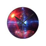 Disco ball with laser beams wallclock