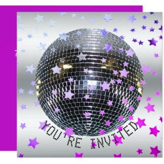 Disco Birthday Purple | Retro 70s Disco Party Card