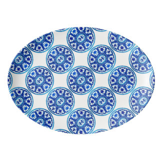 Disco blanco azul del modelo 13x9 de China Badeja De Porcelana