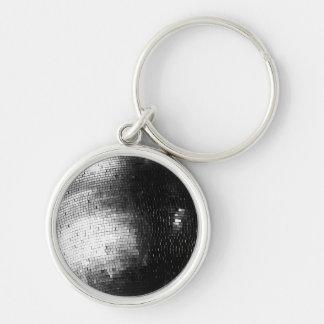 disco/bola de espejo blancos y negros llavero redondo plateado