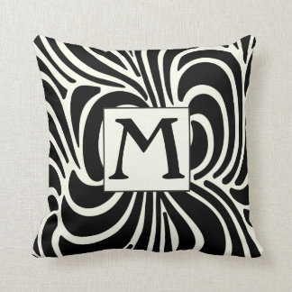 Disco Casual Black and Ivory Monogram Pillow