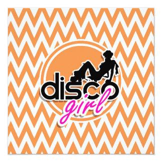Disco; Chevron anaranjado y blanco Invitacion Personal