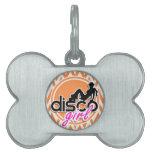 Disco; Chevron anaranjado y blanco Placa Mascota